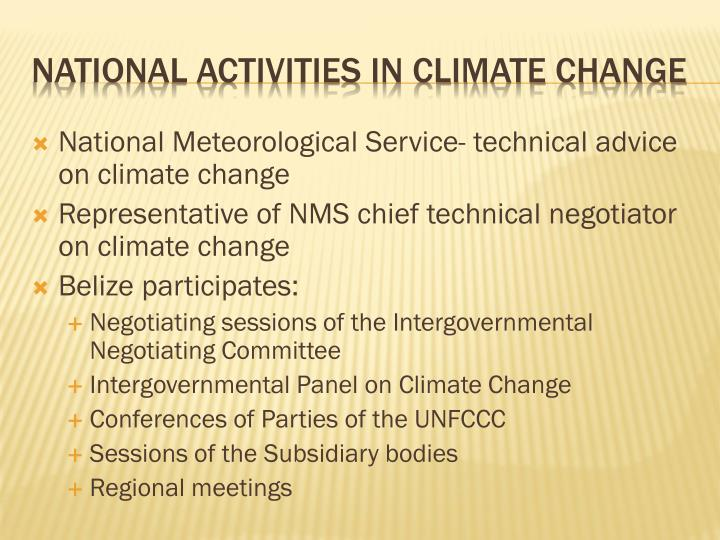 National activities in climate change