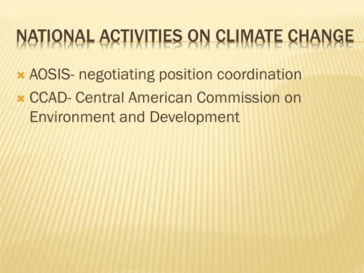 National activities on climate change