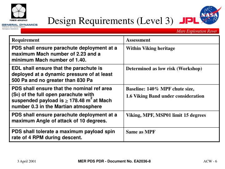 Design Requirements (Level 3)