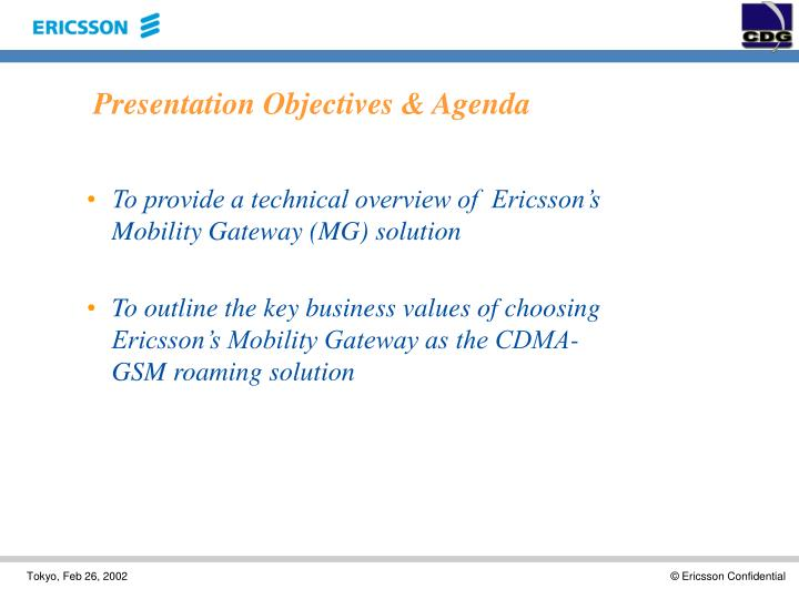 Presentation objectives agenda
