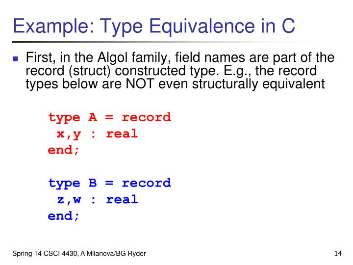 Example: Type Equivalence in C