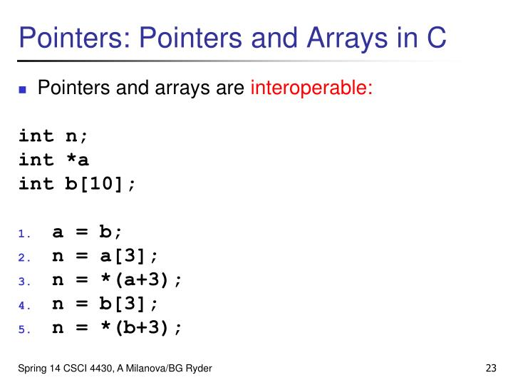 Pointers: Pointers and Arrays in C