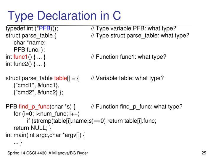 Type Declaration in C
