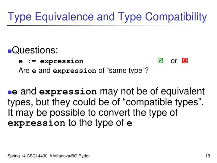 Type Equivalence and Type Compatibility