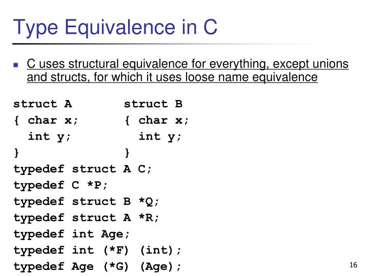 Type Equivalence in C
