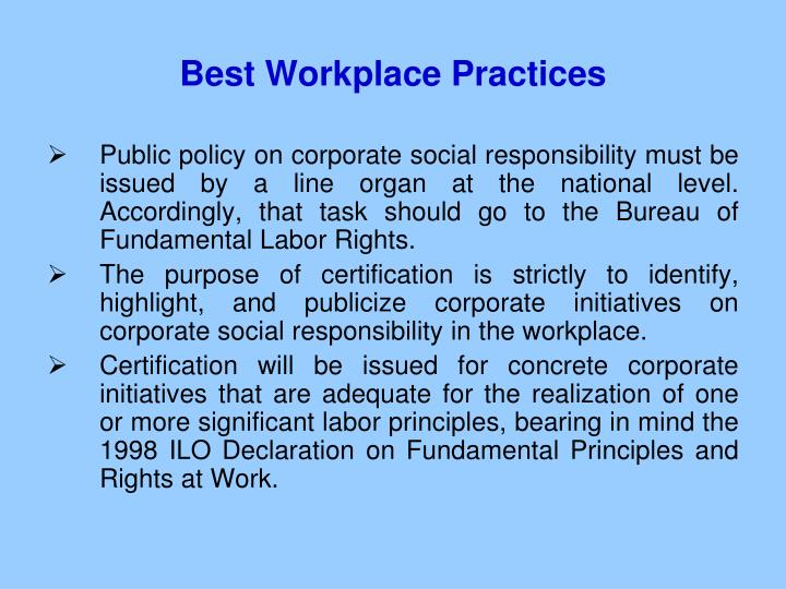 Best Workplace Practices