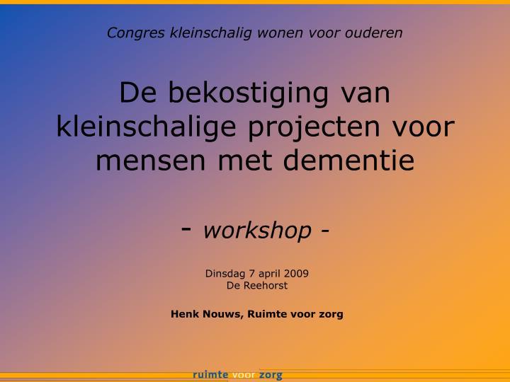de bekostiging van kleinschalige projecten voor mensen met dementie workshop n.