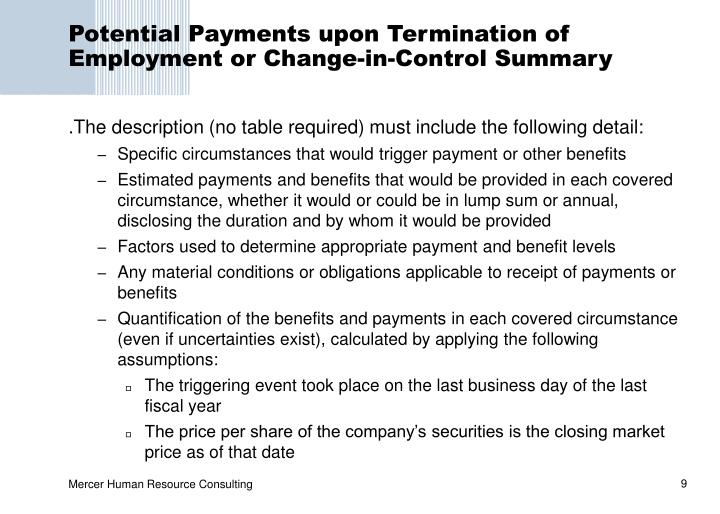 Potential Payments upon Termination of Employment or Change-in-Control Summary
