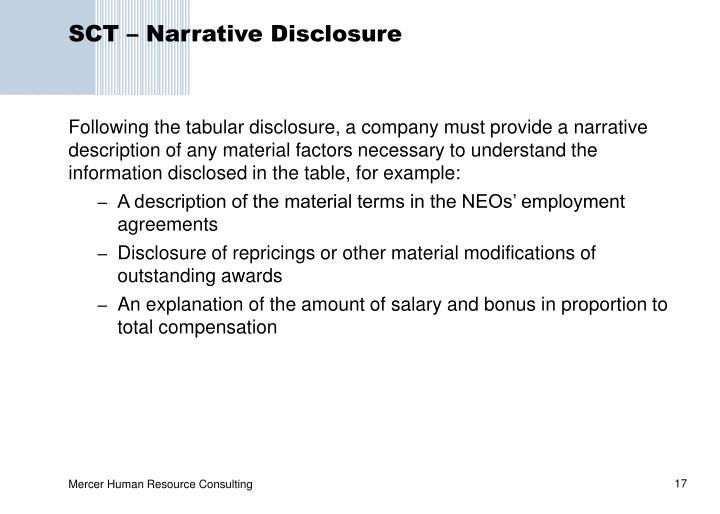 SCT – Narrative Disclosure