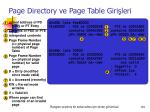 page directory ve page table giri leri
