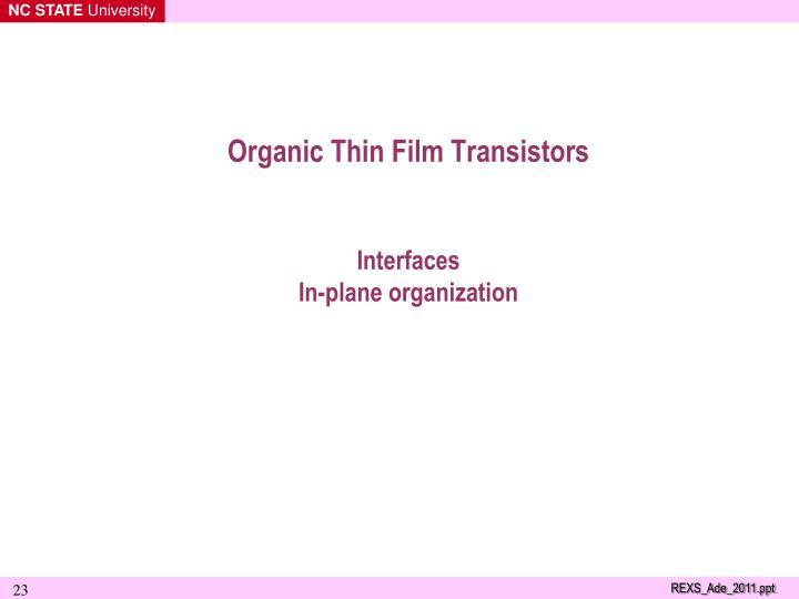 Organic Thin Film Transistors