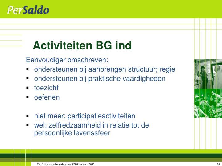 Activiteiten BG ind