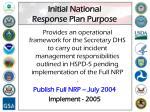 initial national response plan purpose