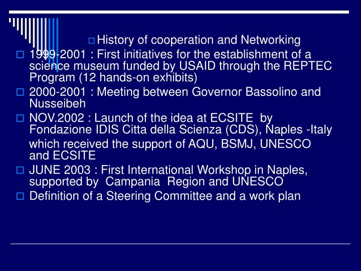 History of cooperation and Networking
