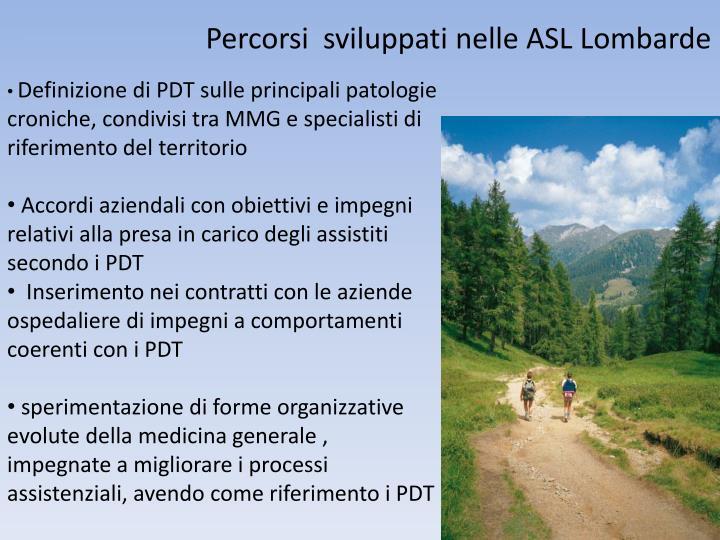 Percorsi  sviluppati nelle ASL Lombarde