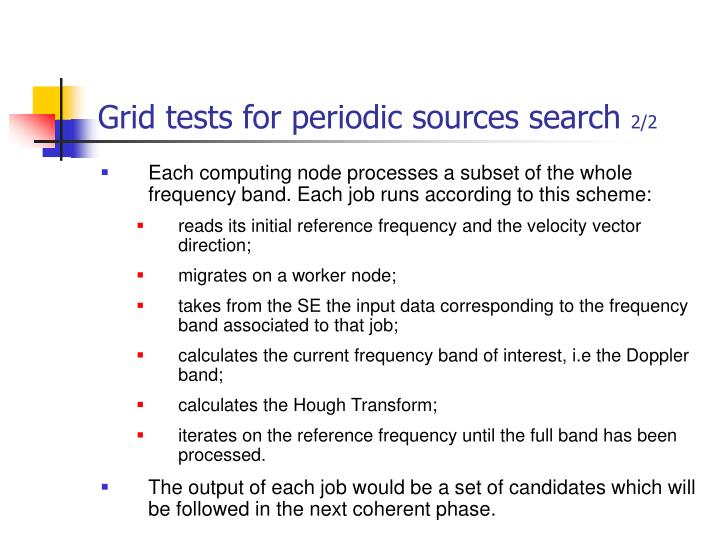 Grid tests for periodic sources search
