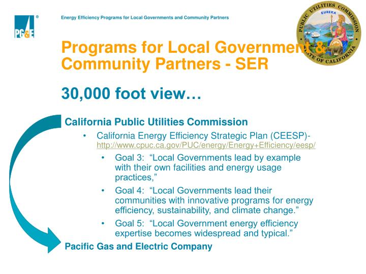 Programs for Local Government & Community Partners - SER