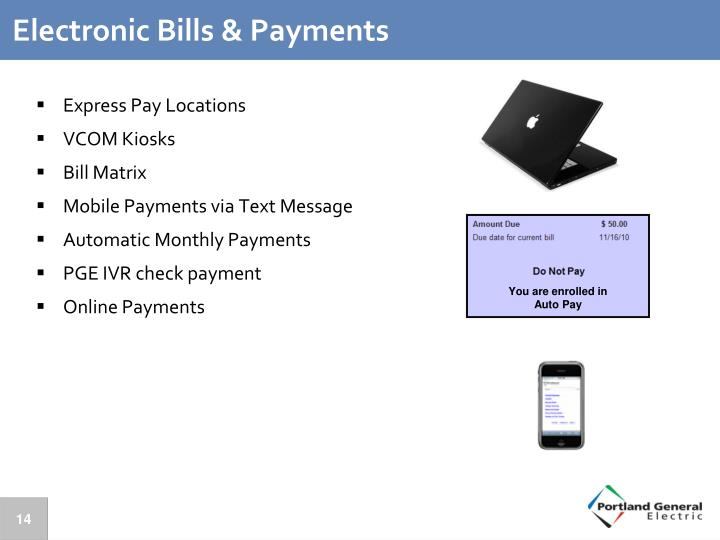 Electronic Bills & Payments