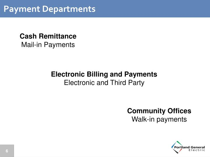 Payment Departments