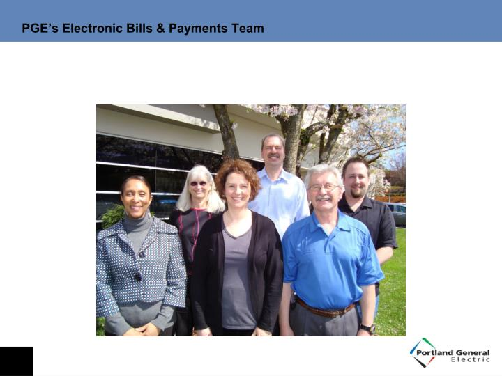 PGE's Electronic Bills & Payments Team