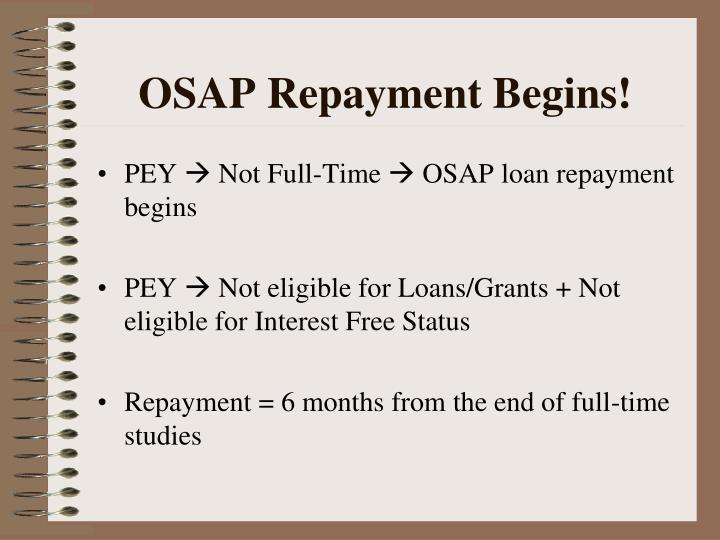 Osap repayment begins