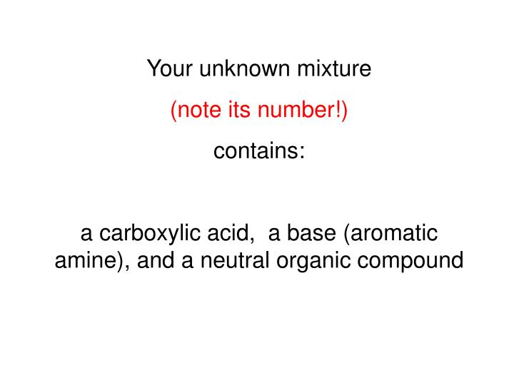 Your unknown mixture