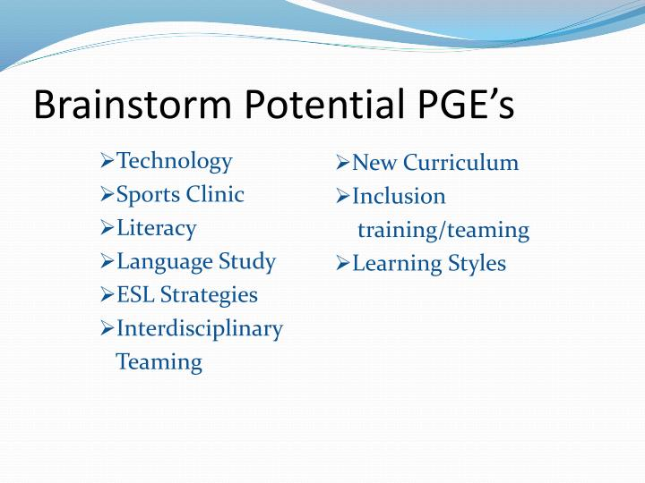 Brainstorm Potential PGE's
