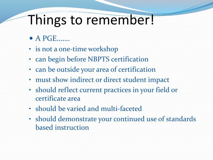 Things to remember!