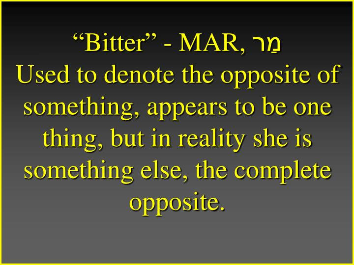 """""""Bitter"""" - MAR,"""