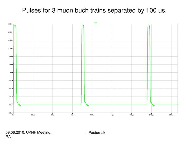 Pulses for 3 muon buch trains separated by 100 us.