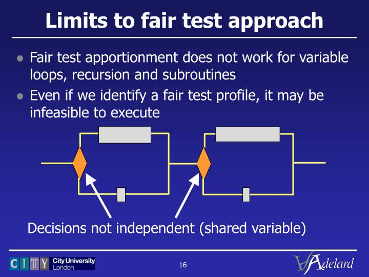 Limits to fair test approach