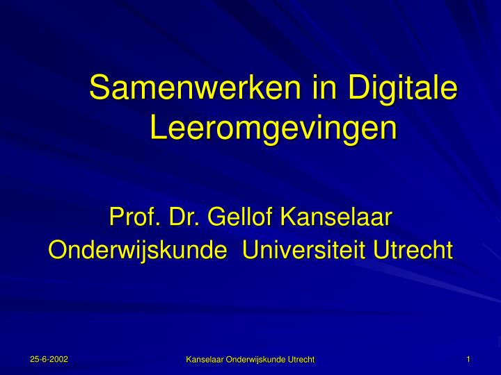 Samenwerken in digitale leeromgevingen