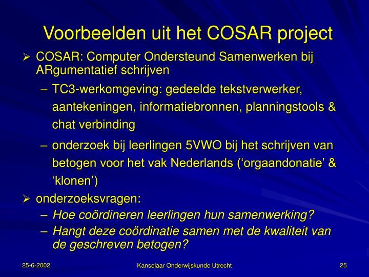 Voorbeelden uit het COSAR project