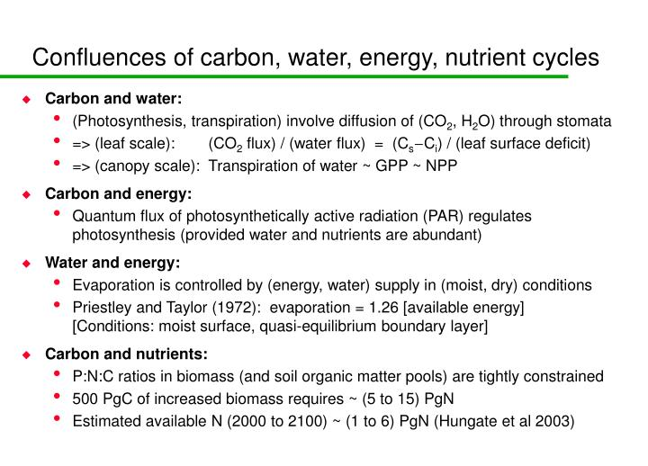Confluences of carbon, water, energy, nutrient cycles