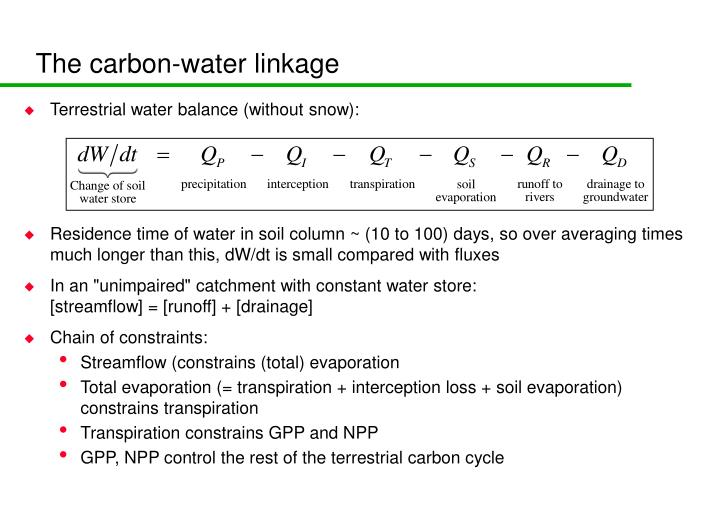 The carbon-water linkage