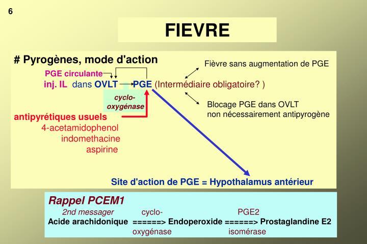 Fièvre sans augmentation de PGE