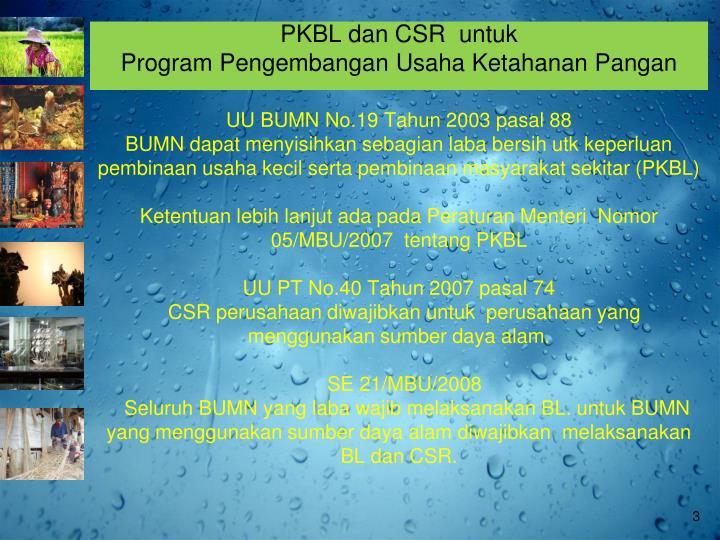 PKBL dan CSR  untuk