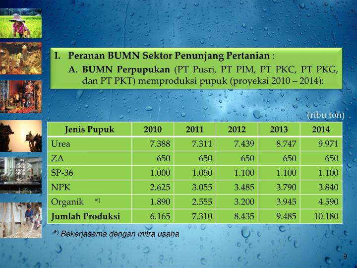 I.  Peranan BUMN Sektor Penunjang Pertanian