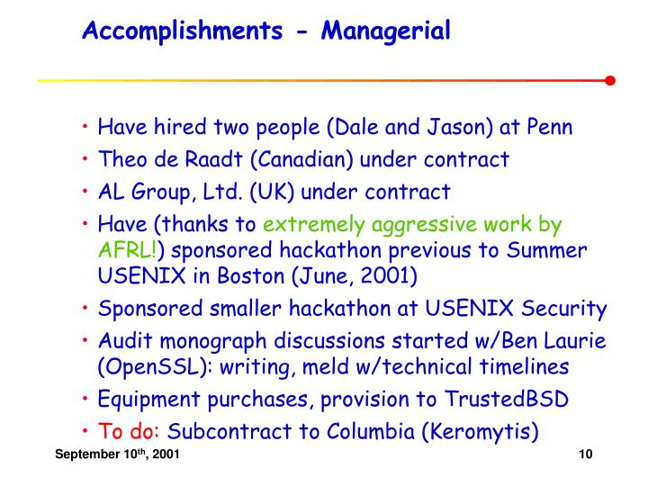 Accomplishments - Managerial
