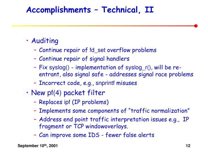 Accomplishments – Technical, II