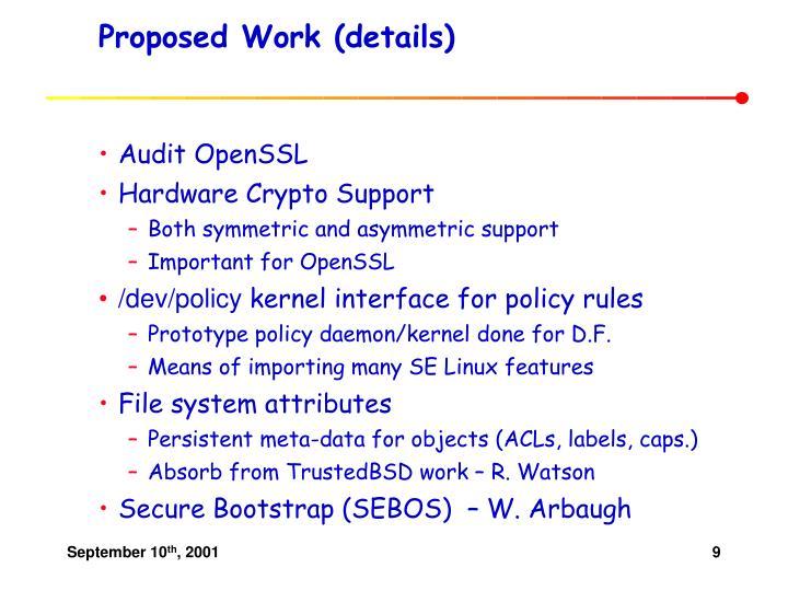 Proposed Work (details)