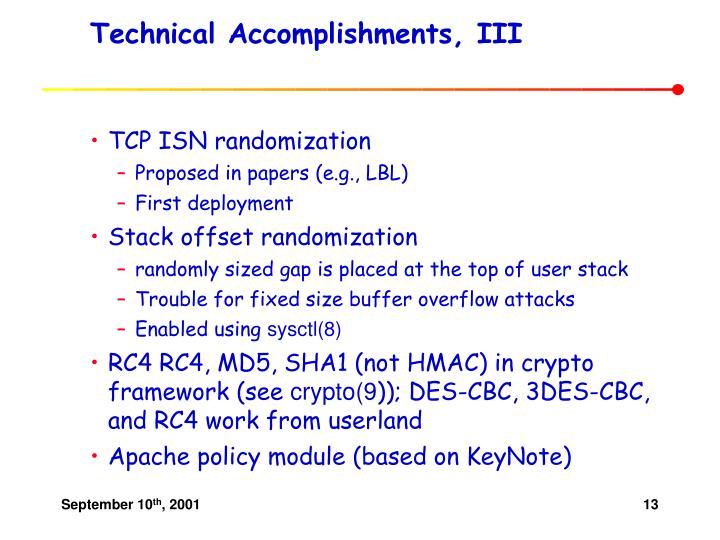 Technical Accomplishments, III