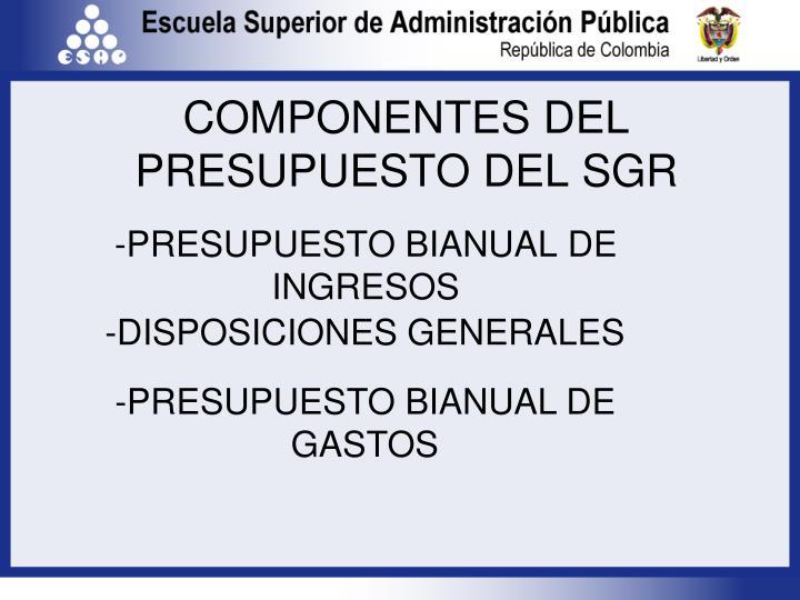 COMPONENTES DEL PRESUPUESTO DEL SGR