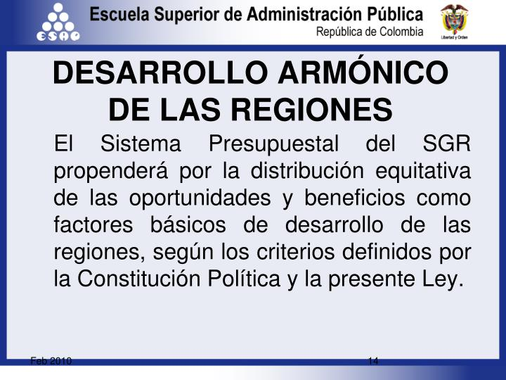 DESARROLLO ARMÓNICO DE LAS REGIONES