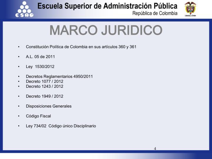Constitución Política de Colombia en sus artículos 360 y 361