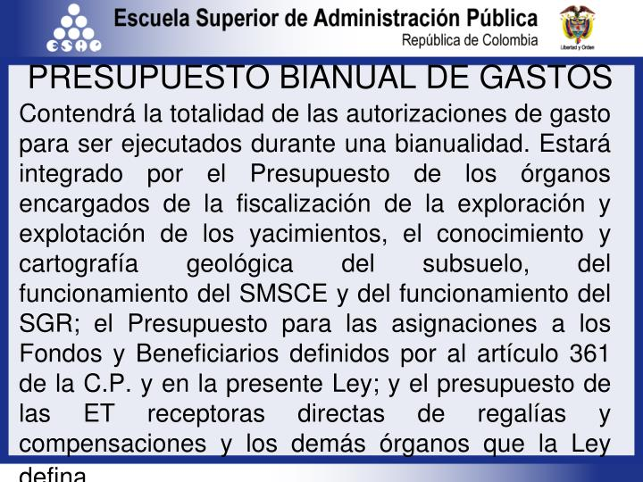 PRESUPUESTO BIANUAL DE GASTOS