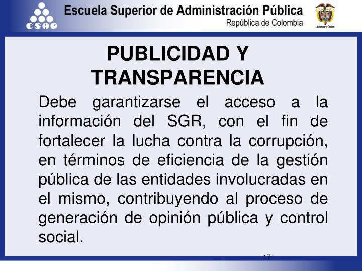 PUBLICIDAD Y TRANSPARENCIA