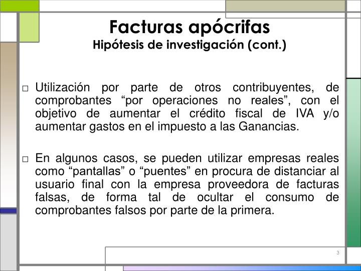 Facturas ap crifas hip tesis de investigaci n cont