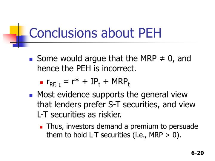 Conclusions about PEH