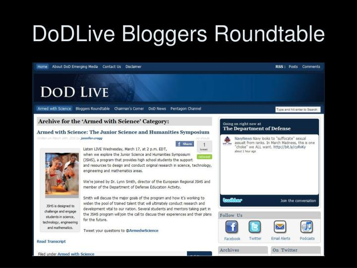 DoDLive Bloggers Roundtable
